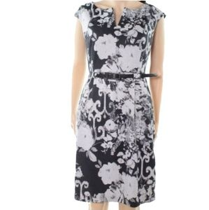 Connected Apparel Women's Belted Sheath Dress